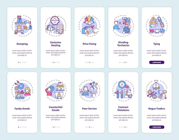 Zakelijke praktijken onboarding mobiele app-paginascherm met ingestelde concepten. doorloop van de consumentenbescherming grafische instructies in 5 stappen.
