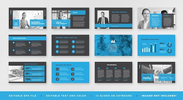 Zakelijke presentatie brochure gids ontwerp of dia sjabloon of verkoopgids schuifregelaar