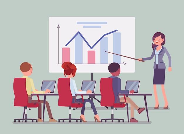 Zakelijke presentatie en vergadering op kantoor