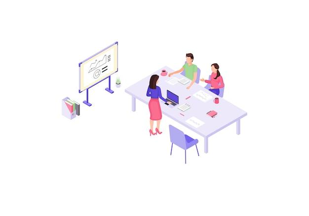 Zakelijke presentatie isometrische kleur. zakelijke bijeenkomst infographic. jaarverslag 3d-concept. marketingstrategieonderzoek. verkoopanalyses. teamwerk. webpagina, ontwerp van mobiele apps