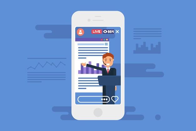Zakelijke presentatie live stream concept illustratie. zakenman vlogger semi plat karakter. online uitzending op smartphonescherm. vector geïsoleerde kleurtekening op blauwe achtergrond