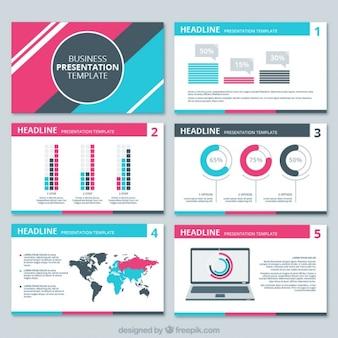 Zakelijke presentatie met roze en blauwe informatie