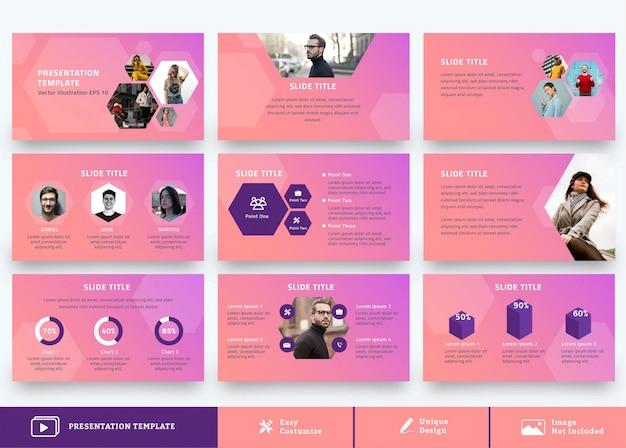 Zakelijke presentatie ontwerpsjabloon 9 pagina's met moderne achtergrond