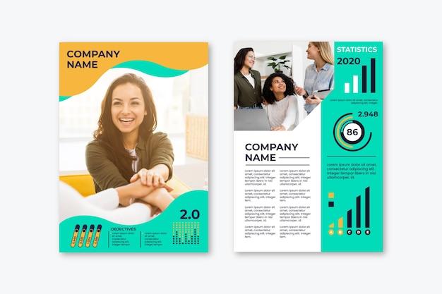 Zakelijke presentatie poster sjabloon met zakenvrouw
