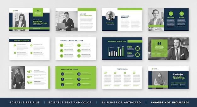 Zakelijke presentatie powerpoint-dia-sjabloon of schuifregelaar voor verkoopgids