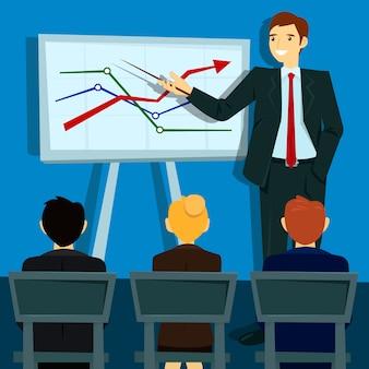 Zakelijke presentatie. zakenman toont statistieken aan boord. vector illustratie