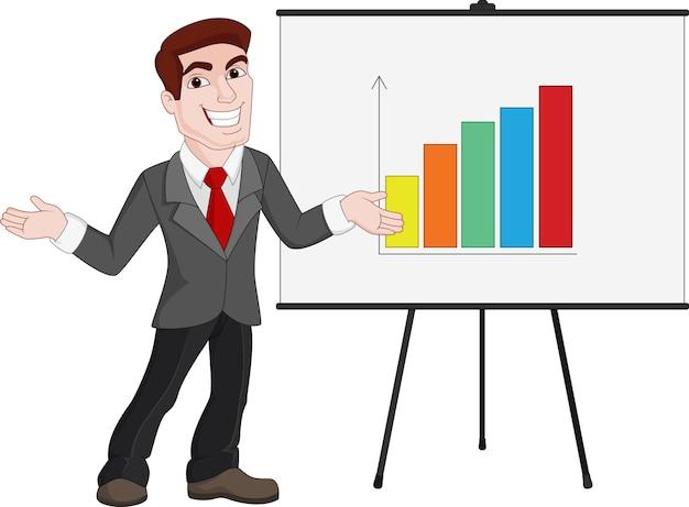 Zakelijke presentatie. zakenman toont statistieken aan boord