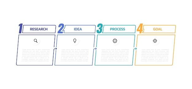 Zakelijke proces infographic sjabloon met opties of stappen. dunne lijn . afbeelding afbeelding.