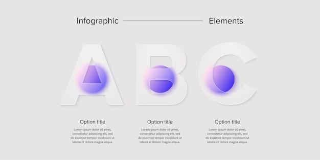 Zakelijke procesgrafiek infographics met cirkels in 3 stappen