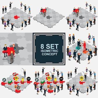 Zakelijke puzzel isometrische set puzzel