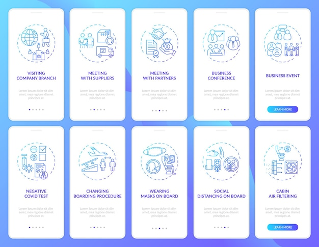 Zakelijke reistrends op het scherm van de mobiele app-pagina met concepten
