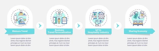 Zakelijke reizen trends infographic sjabloon. deeleconomie presentatie ontwerpelementen. stappen voor gegevensvisualisatie. proces tijdlijn grafiek. workflowlay-out met lineair