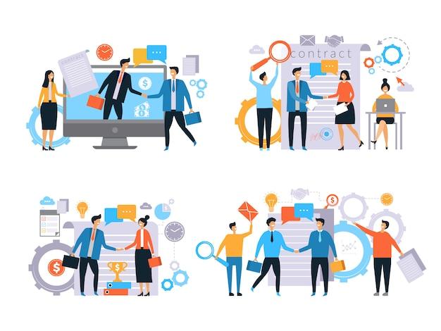 Zakelijke relaties. investeerders handdruk financieren contractwerk zakelijke transacties managers mannelijke vrouwen werken plat