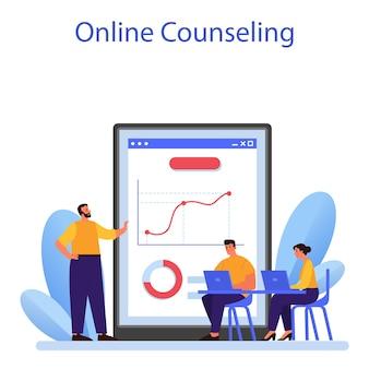 Zakelijke relaties online service of platform. bedrijfsethiek. corporate organisatie ontwikkeling en compliance. online advies. platte vectorillustratie