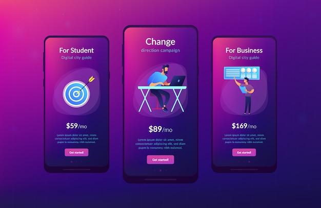 Zakelijke richting app-interfacemalplaatje