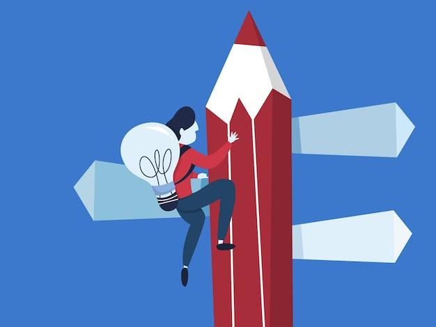 Zakelijke richting kiezen. idee van strategie en doelen. moeilijke keuze maken. man klimt op de top met idee. vlak