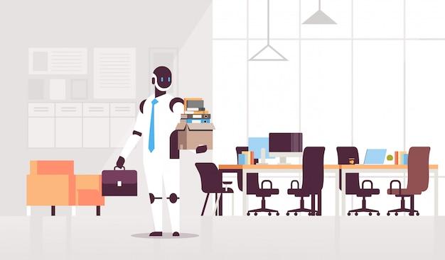 Zakelijke robot kantoor werknemer houden doos met dingen dingen nieuwe baan kunstmatige intelligentie technologie open ruimte modern kantoor interieur