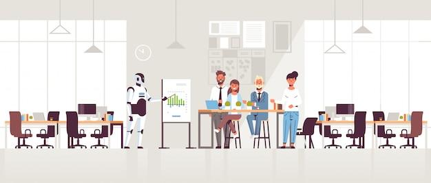 Zakelijke robot presenteren financiële grafiek op flip-overbord aan ondernemers team op conferentie bijeenkomst kunstmatige intelligentie technologie moderne kantoor interieur