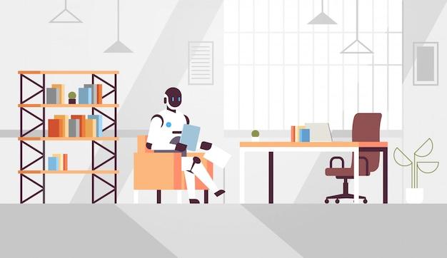 Zakelijke robot zittend op het bureau bureau robot zakenman bedrijf papieren documenten voorbereiding rapport kunstmatige intelligentie technologie modern kantoor interieur