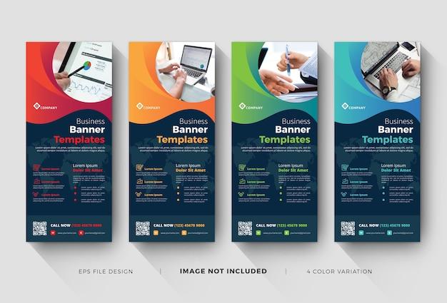 Zakelijke roll-up banner of x-banner sjablonen met kleurvariatie