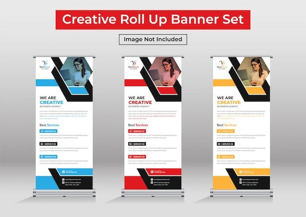 Zakelijke roll-up banner set, staande banner sjabloon