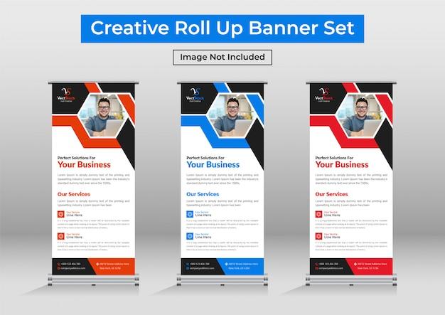 Zakelijke roll-up banner sjabloon collectie of set