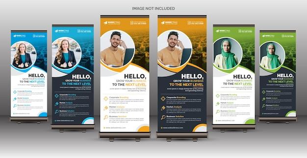 Zakelijke roll-up bannersjabloon voor multifunctioneel gebruik met zes kleurvariaties
