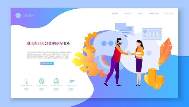 Zakelijke samenwerking mensen ontmoeten afgesproken werk samenwerken interactie zoeken naar zakelijke partners en investeerders presentatie landingspagina