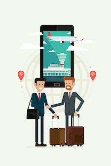 Zakelijke samenwerking reizen en vliegtuig pad naar doel op mobiel, vectorillustratie