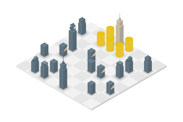Zakelijke schaak kubus isometrische 3d-ontwerp set