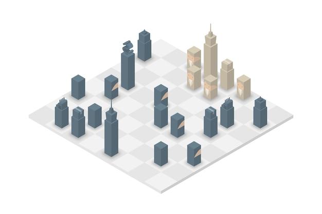 Zakelijke schaak kubus isometrische, small business strijd concept illustratie