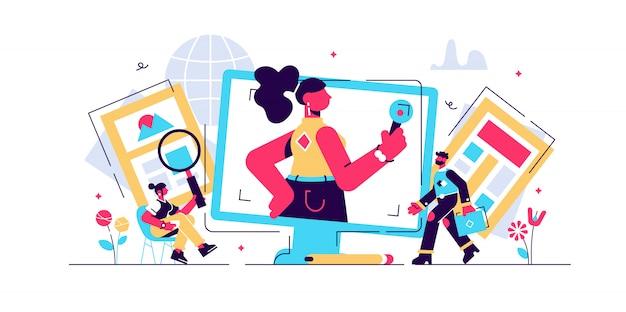 Zakelijke service om informatie te verstrekken via digitale websites of papierpers. rapporten over sociale omroep en journalistiek.