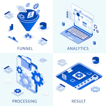 Zakelijke set marketingstappen werken aan succespictogrammen