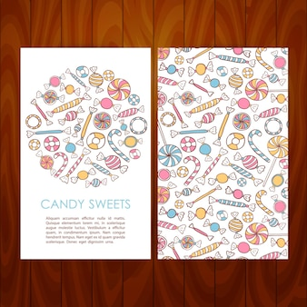 Zakelijke set sjabloon met hand getrokken snoep snoep. vectorillustratie van merkidentiteit voor dessertrestaurant en cafépromotie over houten textuur
