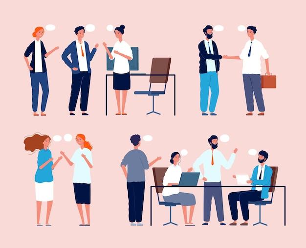 Zakelijke situatie. dialoog tussen personen die aan tafel zitten in kantoormensen die platte afbeeldingen ontmoeten. bedrijfsmedewerker en brainstormen, werkruimte van de organisatie, illustratie van werknemersonderhandelingen