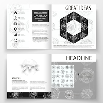 Zakelijke sjablonen voor brochure met vierkante bi-vouwen