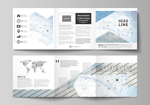 Zakelijke sjablonen voor brochures met een drievoudig ontwerp.