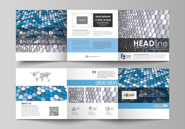 Zakelijke sjablonen voor drievoudige vierkante brochures.