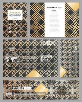Zakelijke sjablonen voor presentatie, brochure, flyer of boekje. islamitisch goudpatroon