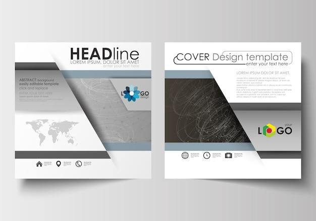 Zakelijke sjablonen voor vierkante ontwerp brochure, flyer. bijsluiterdekking, technologieconcept.