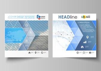 Zakelijke sjablonen voor vierkante ontwerpbrochure,