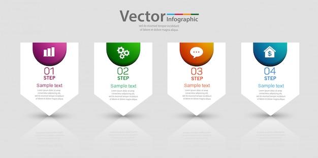 Zakelijke sjabloon 4 opties of stappen infographic grafiekelement