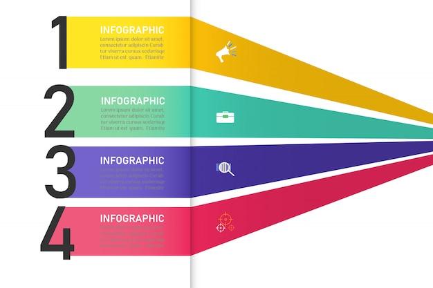 Zakelijke sjabloon 4 opties of stappen infographic grafiekelement.