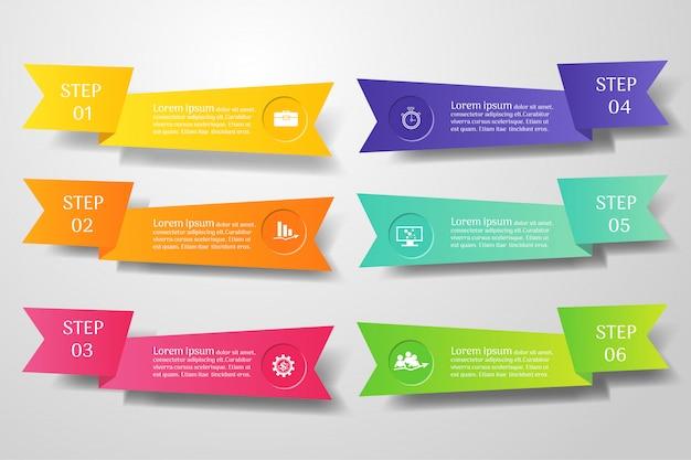Zakelijke sjabloon 6 opties of stappen infographic grafiekelement.