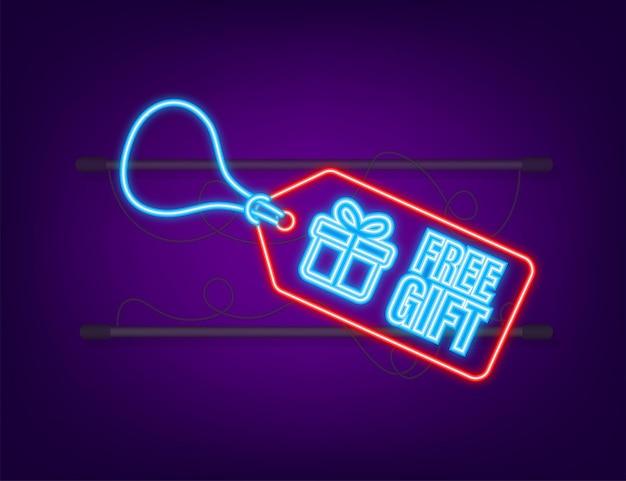 Zakelijke sjabloon met rode gratis cadeau voor bannerontwerp. neon icoon. vector zakelijke sjabloon. huidige geschenkdoos icoon.