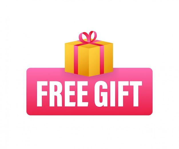 Zakelijke sjabloon met rode gratis geschenk op witte achtergrond voor ontwerp van de banner. zakelijke sjabloon. huidige geschenkdoos pictogram.