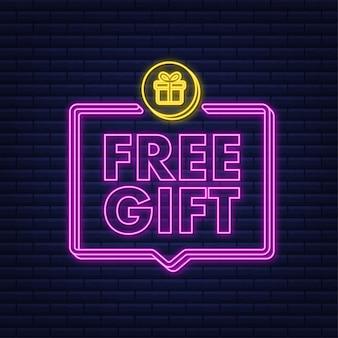 Zakelijke sjabloon met rood gratis cadeau voor bannerontwerp neon pictogram vector zakelijke sjabloon