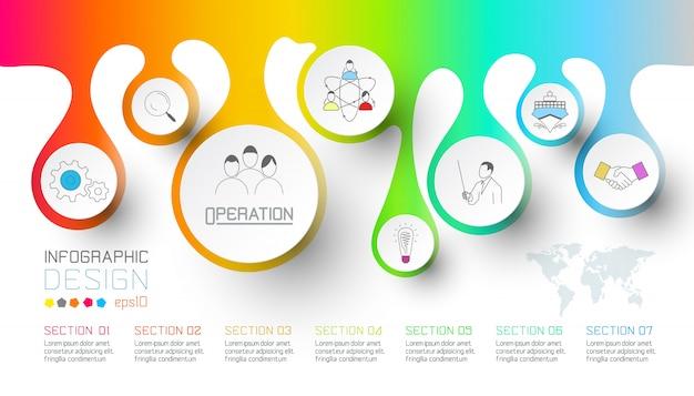 Zakelijke splash van waterdruppel labels vorm infographic.