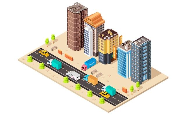 Zakelijke stadswijk kaart met verschillende gebouwen. isometrisch concept.