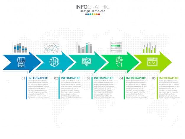 Zakelijke stap proces grafiek infographics met stap.